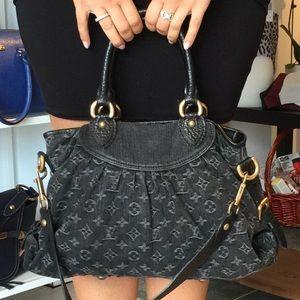 Black Denim Authentic Louis Vuitton Two Way bag